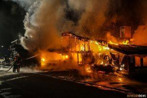 Brand der Produktioshalle des Sägewerks Gatterdam am 23.01.2015